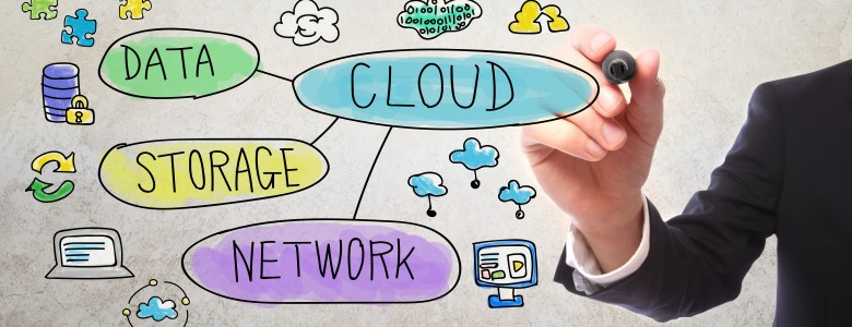 Cloud Computing concept with businessman drawing with a marker
